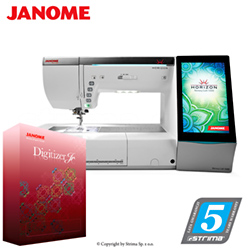 Computerized sewing and embroidering machine - promotional set with JANOME DIGITIZER JR software - JANOME MEMORY CRAFT 15000 HORIZON JR SET
