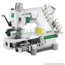 Zoje 4-needle semi-cylinder double chainstitch machine with puller, for attaching elastic - machine head