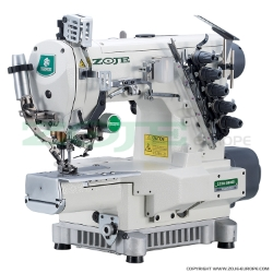 3-needle cylinder bed coverstitch (interlock) machine with electromagnetic automatic thread trimmer and built-in AC Servo motor - machine head