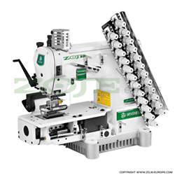 Zoje 12-needle semi-cylinder double chainstitch machine with puller, with energy-saving AC Servo TP550 motor - complete sewing machine - ZOJE ZJ1414-100-403-601-12048 SET