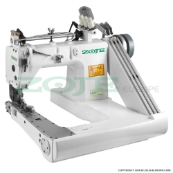 Feed-off-the-arm chainstitch machine with double puller and energy-saving AC Servo motor - complete sewing machine