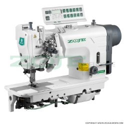 Zoje two needle automatic lockstitch machine for medium and heavy materials, with built-in AC Servo motor, split needles, large hooks - machine head