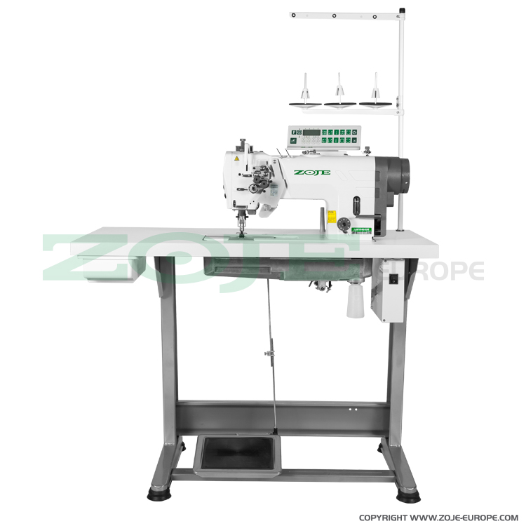ZOJE ZJ2875-BD-D3/PF SET - Zoje two needle automatic lockstitch machine for medium and heavy materials, with built-in AC Servo motor, split needles, large hooks - complete sewing machine