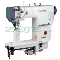 Zoje automatic post-bed lockstitch machine with bottom, needle and upper roller feed, with AC Servo motor - machine head