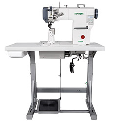 Zoje automatic post-bed lockstitch machine for medium and heavy material with bottom, needle and upper roller feed, with AC Servo motor - complete machine
