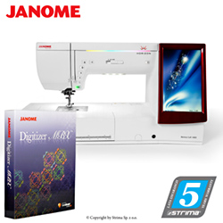 Computerized sewing and embroidering machine - promotional set with JANOME DIGITIZER MBX software - JANOME MEMORY CRAFT 14000 HORIZON MBXSET