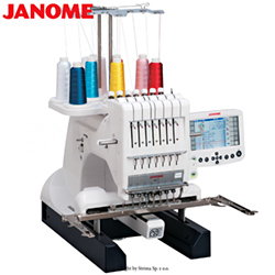 Compact, one-head, seven-needle embroidery machine with a big hook