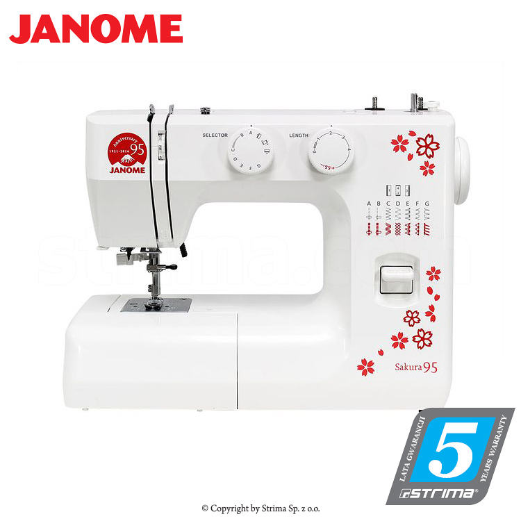 JANOME SAKURA 95 - Multifunctional mechanical sewing machine, 15 stitches