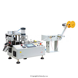 Automatic, multifunction, hot knife cutting machine (bevel cutter) with automatic tape feeding